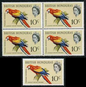 British Honduras SG207 1962 10c Bird with BLUE SHIFT U/M BLOCK of FOUR
