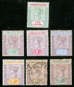Leeward Islands Stamps Lot of 7 Early Values Scott Value $87.00