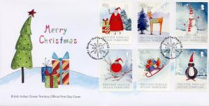 BIOT Brit Indian Ocean Terr 2018 FDC Christmas Trees Santa Robin 6v Cover Stamps