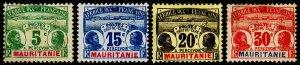 Mauritania Scott J1, J3-J5 (1906-07) Mint H NG/PG G-F, CV $39.50 C