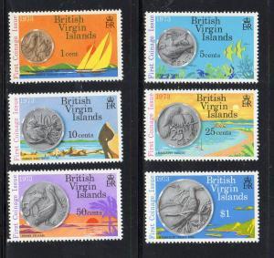 VIRGIN ISLANDS #254-259  1973 NEW VIRGIN ISLAND COINAGE      MINT VF NH O.G