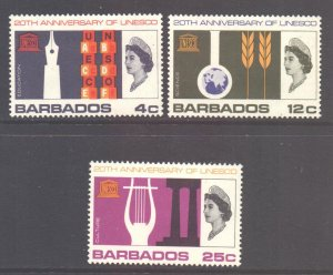 Barbados Scott 287/289 - SG360/362, 1967 UNESCO Set MH*