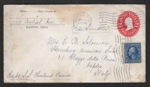 US Sc U411,335 on 1910 Dayton, Ohio to Italy cover 2;0