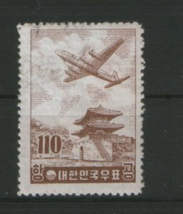 SOUTH KOREA-USED STAMP-PLANE-HIGH CV-Mi.No.215y-1956.