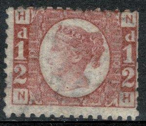 G.B. QV 1870-79 1/2d ROSE-RED BATAM PLATE 10 (N-H) USED (VFU) SG48 P.14 FINE