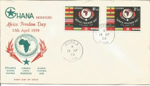 Ghana Honours Africa Freedom Day 15 April 1959 First Day Cover Accra Pmark U2537
