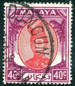 TRENGGANU-1949-55 40c Red & Purple Sg  83  FINE USED V31502