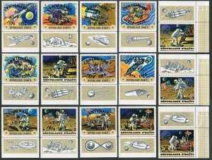 Haiti 668 note 2,15 stamps,MNH.Sp.ace Exploration USA-USSR for UPU-100,Apollo 17