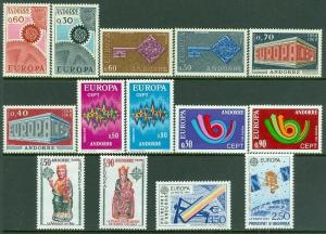 EDW1949SELL : FRENCH ANDORRA 7 Diff. Better VFMNH Europa sets between 1967-1991.