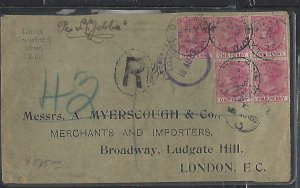 LAGOS COVER (P1211B) 1902  QV 1D X5 REL COVER TO ENGLAND