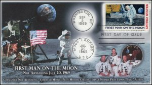 AO-C76, 1,1969, Airmail, First Day Cover, Add-on Cachet, 10 cent, moon landing,
