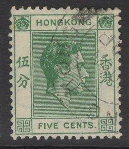 HONG KONG SG143 1938 5c GREEN p14 USED