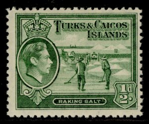 TURKS & CAICOS ISLANDS GVI SG195, ½d yellowish green, M MINT. Cat £9.