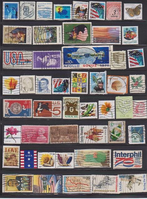 USA 55 DIFFERENT STAMPS USED LOT#US214