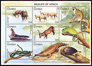 Gambia 1741, MNH, Wildlife of Africa miniature sheet of 9