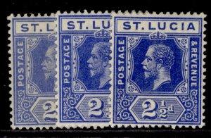 ST. LUCIA GV SG81 + 81a + 81b, 2½d SHADE VARIETIES, VLH MINT. Cat £22.
