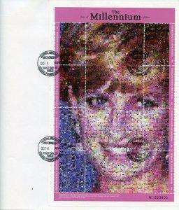 MICRONESIA 1999 MILLENNIUM PRINCESS DIANA PHOTOMOSAIC SHEET FIRST DAY COVER