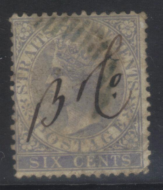 STRAITS SETTLEMENT 1867 DEFINS SG66a USED CAT £12