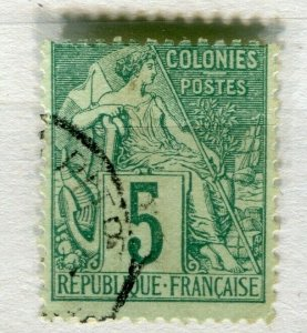 FRENCH COLONIES; Classic 1880s perf issue fine used 5c. value