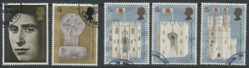 GB SG 802 - 806  Scott 595 - 599 Used  SPECIAL  HRH Prince of Wales Investiture