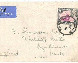 British KUT KENYA Cover AIR *Nakuru* CDS Lyndhurst GB Hants 1936 {samwells} Q55