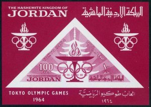 Jordan 483a sheet,MNH.Michel 481 Bl.16. Olympics Tokyo-1964. Torch.