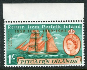 PITCAIRN ISLAND; 1961 early QEII issue fine Mint hinged value, 1s