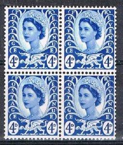 GB (Wales) 180136 - 1967-9 4d MNH block