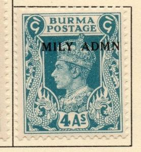 Burma 1945 Early Issue Fine Mint Hinged 4a. Optd 052126