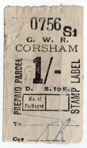 (I.B) Great Western Railway : Prepaid Parcel 1/- (Corsham)