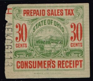 US TAX STAMP STATE OHIO PREPAID SALES TAX PAID STAMP -30C