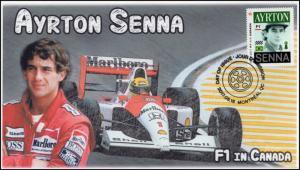 CA17-010, 2017, FDC, F1 in Canada, Ayrton Senna, Day of Issue,