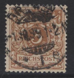 GERMANY. -Scott 46c - Definitives -1889 -Used - Reddish Brown -Single 3pf Stamp