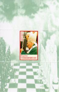 Turkmenistan 2000 CHESS-POPE JOHN PAUL II Souvenir Sheet Perforated MNH