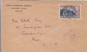 1941, Nuwara Eliya, Ceylon to Cambridge, MA, Censored, See Remark (C3548)