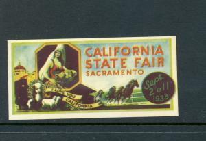 VINTAGE 1938 SACRAMENTO CALIFORNIA STATE FAIR COLORFUL POSTER STAMP (L45)