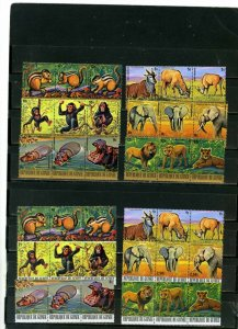 GUINEA 1977  AFRICAN ANIMALS SET OF 12 STRIPS OF 3 STAMPS MNH