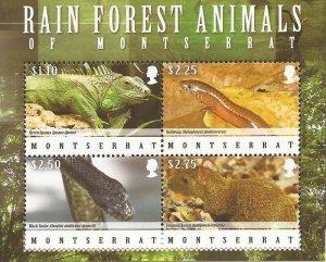 Montserrat - 2009 Rain Forest Animals & Reptiles - 4 Stamp Sheet - Scott #1225