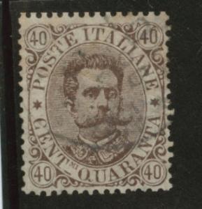Italy Scott 53 King Humbert 40c brown Used CV$18 1889