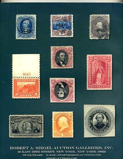 Siegel Auction Sale 1061 US classics and Back of the Book