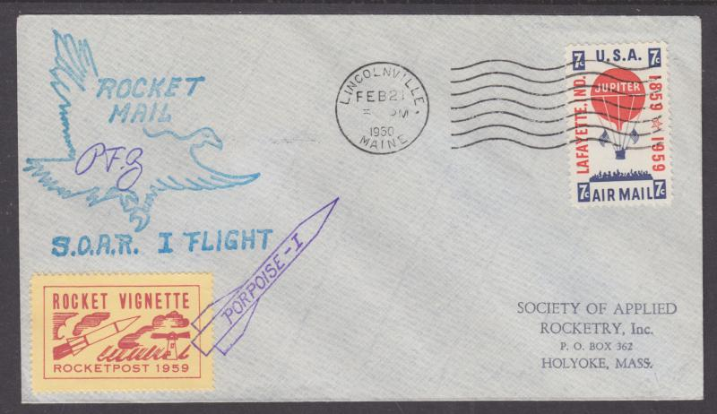 US EZ 30C1 used 1960 Lincolnville, Maine Rocket Mail Cover