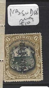 NORTH BORNEO (P1303B)   6C ARMS , LION POSTAGE DUE SG D18  MOG