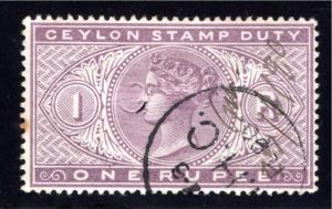 Ceylon Revenue One Rupee, Stamp Duty, Used, Punch Cancel