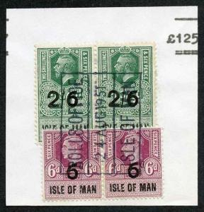Isle of Man KGV 2/6 Pair and KGVI 6d Pair Key Plate Type Revenues CDS on Piece
