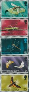 Pitcairn Islands 1975 SG162-166 Insects set MLH