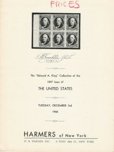 U.S. 1847 Issue Specialized, Harmers of New York, Sale #1865, Dec. 3, 1968