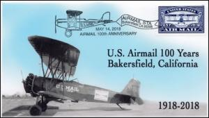 18-126, 2018, Airmail 100 years, Bakersfield CA, Pictorial, Event Cover,