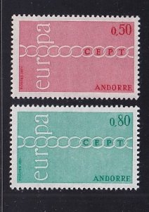Andorra French  #205-206  MNH  1971    Europa