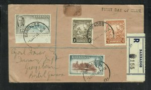 BARBADOS COVER (P2205B)1950 KGVI 3C+12C + SEAHORSE 1/-+1/2D REG FDC TO BR GUIANA