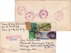 United States New York New York (Sta. K) Registered 1945 violet double ring  ...